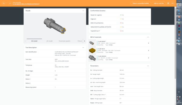 Tool assembly in TDM Cloud Line – quick and intuitive.