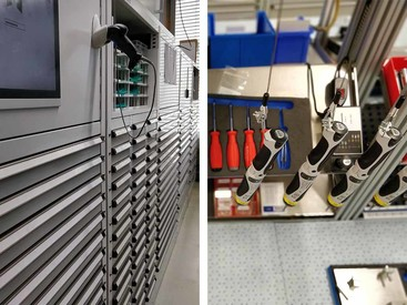 Toolbox cabinets and optimally organised set-up stations