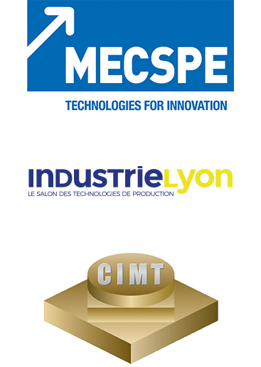 Logo MECSPE, Industrie Lyon and CIMT.