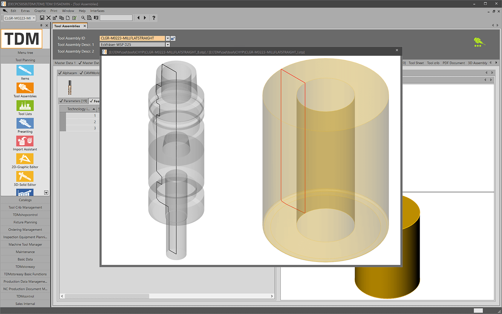 Create rotating tool graphics with the TDM Tool Contour Generator - 3d model and tool contour. (screen view)