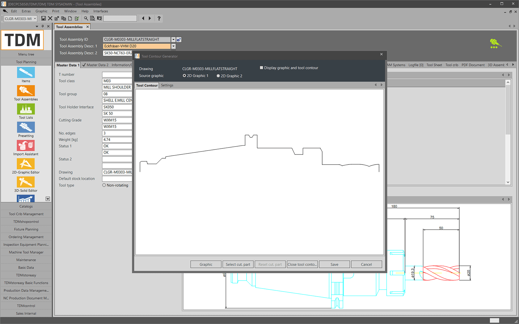 Create rotating tool graphics with the TDM Tool Contour Generator - 2D tool contour. (screen view)