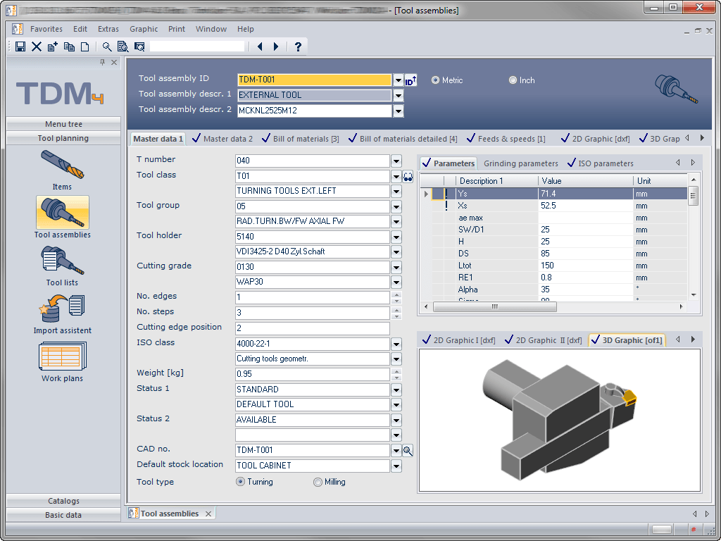 Master data of a tool assembly